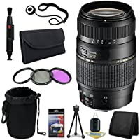 Tamron AF 70-300mm f/4.0-5.6 Di LD Macro Zoom Lens with Built In Motor for Sony Digital SLR Cameras + 62mm 3 Piece Filter Kit + Lens Cap Keeper + Deluxe Starter Kit + Deluxe Lens Pouch + Lens Pen Cleaner + DavisMAX MicroFiber Cloth DavisMax Bundle