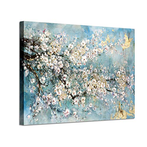 Painting Gold Flowers - Abstract Art Painting Flower Picture: Dogwood Bloom Gold Foil Art Print on Canvas (36'' x 24'') for Walls