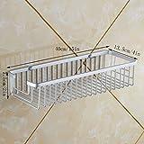 YXN Space Aluminum Bathroom Single-layer Bracket Square Metal Basket Bathroom Corner Bracket Heightening Deepen Wall Mount Basket (Size : 40cm)