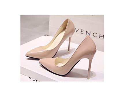 2486fe1fe Acgicea Nude Color Pointed Toe high-Heeled Shoes Black Shoes Patent Leather  Blue Large Size