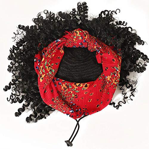 Short Curly Headband Wigs for Black Women, Drawstring Headwrap Hairstyles Synthetic Hair Wigs Headband Afro Wigs Natural Color (7Inch Red Headband)