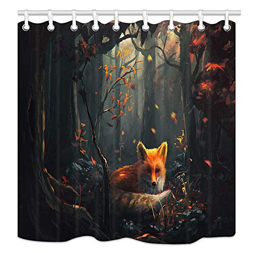 Safari Palette Fabric - NYMB Painting Animal Lover Fox in The Forest Shower Curtain 69X70 inches Polyester Fabric Bathroom Fantastic Decorations Wild Safari Cartoon Animals Bath Curtains Hooks Included (Multi25)