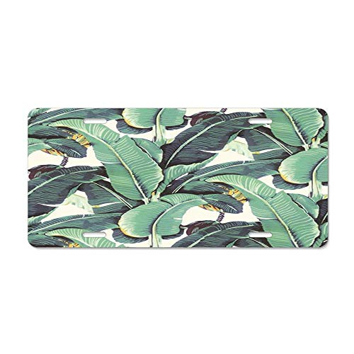 FloralFlames Banana Leaves Pattern Blanche Devereaux Style Personalized License Plate for Front of Car Decoration - Custom License Plate Cover. (Best Of Blanche Devereaux)