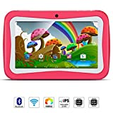 7' Google Android 5.1 Kids Tablet, Quad Core 8GB Storage 1GB RAM, External 3G Tablet Wifi USB Bluetooth Dual Camera, Kidoz Pre-Installed(with Pink Silicone Case)