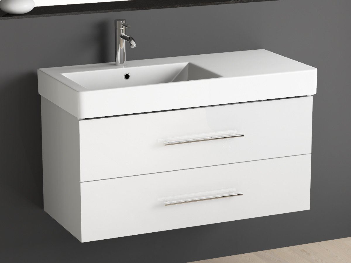 aqua bagno badm bel 100cm inkl waschtisch links weiss lackiert g nstig. Black Bedroom Furniture Sets. Home Design Ideas