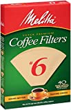 Melitta Cone Coffee Filters, Natural Brown, No. 6, 40 Count