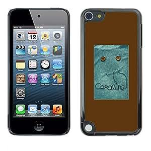 rígido protector delgado Shell Prima Delgada Casa Carcasa Funda Case Bandera Cover Armor para Apple iPod Touch 5 /Text Monster Button Brown Sewing/ STRONG