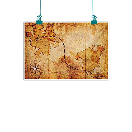 Modern Oil Paintings Bohemian Style Treasure Hunt Map with Small Compass Paint on It Manuscript Atlas Finding Canvas Wall Art 24