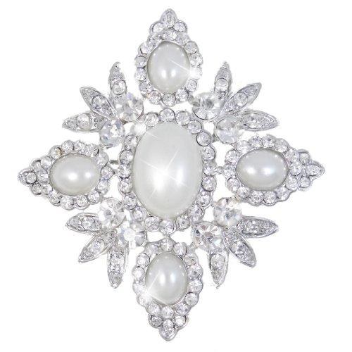 EVER FAITH Austrian Crystal Oval Simulated Pearl Wedding Chunky Flower Brooch Clear Silver-Tone