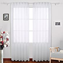 Deconovo Sheer Voile Curtains Rod Pocket Faux Linen Look Curtains for Living Room 52 W x 84 L Inch Set of 2 Panels White