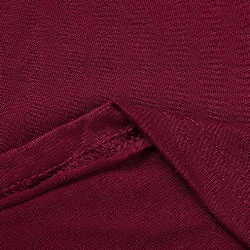Shirts Manches Fille Blouse Shirt Rouge Solike V T Uni Casual Col Tops Pullover Couleur vin Femme Chemise Longues Dames EOwq8w