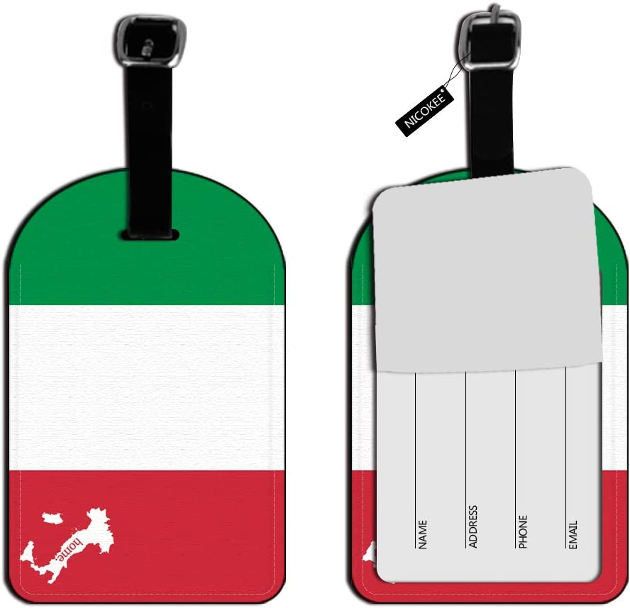 Nicokee Italy Home Country Luggage Suitcase ID Tags-Textured Green Red White Bag Carry-On ID Luggage Tag Leather Travel Bag Labels