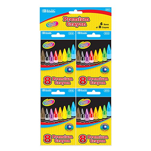 BAZIC 8 Color Premium Quality Crayon 4 Pk Case Pack 72 BAZIC 8 Color Premium Quality Crayon 4 Pk Ca