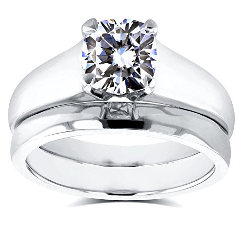 Cushion Moissanite Classic Solitaire Bridal Set 1 1/10 CTW in 14k White...