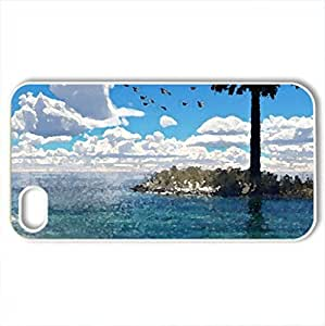 Beautiful scenery - Case Cover for iPhone 4 and 4s (Beaches Series, Watercolor style, White)