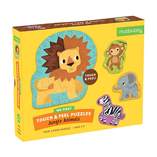 Mudpuppy Jungle Animals My First Touch & Feel Puzzle - Great for Kids Age 1-3 - 4 Animal Shaped 3-Piece Puzzles - Textured Pieces for a Fun Sensory Experience - - Piece Animal Jungle One