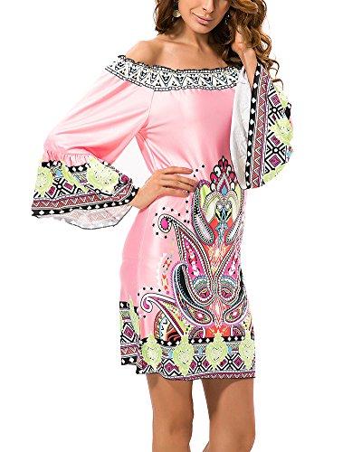 1 Femme Robe Midi Longues Imprim Style Occasionnels Boheme Ethnique Robe Manches wvPUwqrZ