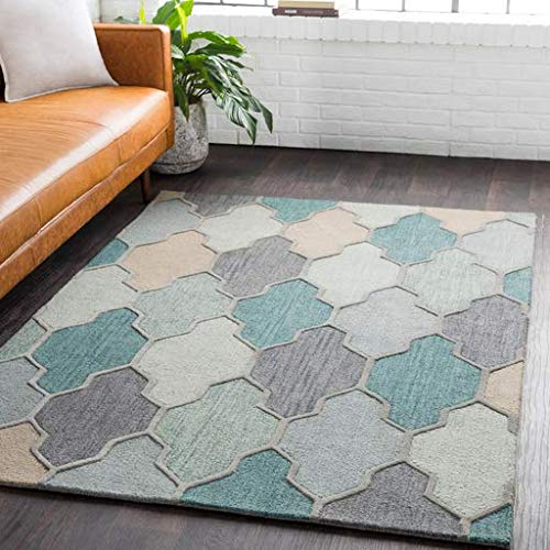 Monteview Contemporary Abstract 8' Round Round Transitional 100% Wool Medium Gray/Charcoal/Sage/Teal/Sea Foam/Taupe Area Rug ()