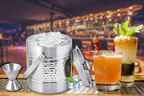 Kosma Stainless Steel Ice Bucket Double Wall 1.5 Litre with Peg Measure Jigger 1 x 2 oz and Ice Tong 5.5'' by Kosma (Image #2)