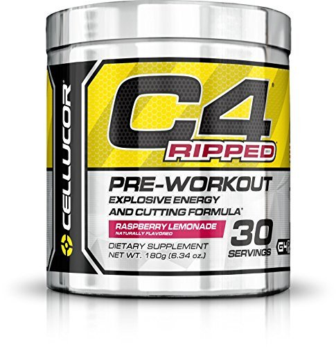 C4 Ripped Pre Workout Powder Raspberry Lemonade, Creatine Free + Sugar Free Preworkout Energy Supplement for Men & Women, 150mg Caffeine + Beta Alanine + Weight Loss, 30 Servings, 6.34 Ounce