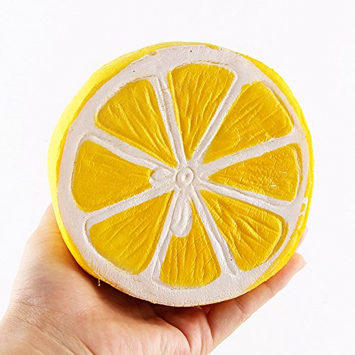 iMagitek Slow Recovery Squishy Toy, Big Slice Cheeki Lemon Stress Relief Kawaii Squeezing Hand Wrist Toy for Kids and Adults - Yellow