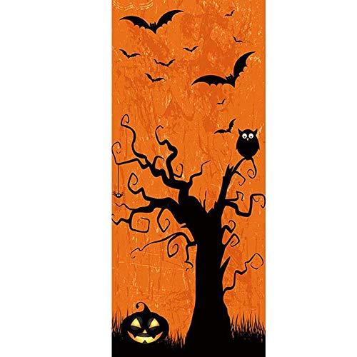 YJZ 3D Door Wall Mural Wallpaper Stickers Halloween Pumpkin Head Bat Owl Self-Adhesive Vinyl Waterproof Art Door Renovation Decals