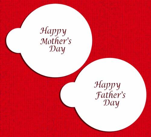 Designer Stencils C498 Happy Mother s and Father s Day Cookie Stencil Set, Beige/semi-transparent