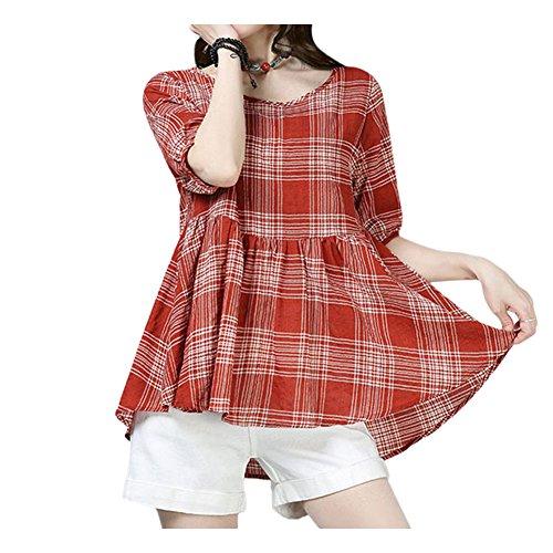 Xinvision Dames Couleur Pure Casual Lin En Coton À Manches Courtes Lâche Dessus T-shirt Blouse De Style 2 Couleur Rouge W / Blanc
