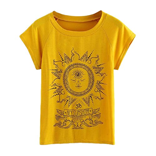 Clearance ! Litetao New ! On Sale ! Women's Plus Size T-Shirt Short Sleeve Hey Sunshine Printed Blouse Casual Tops (L, Yellow)