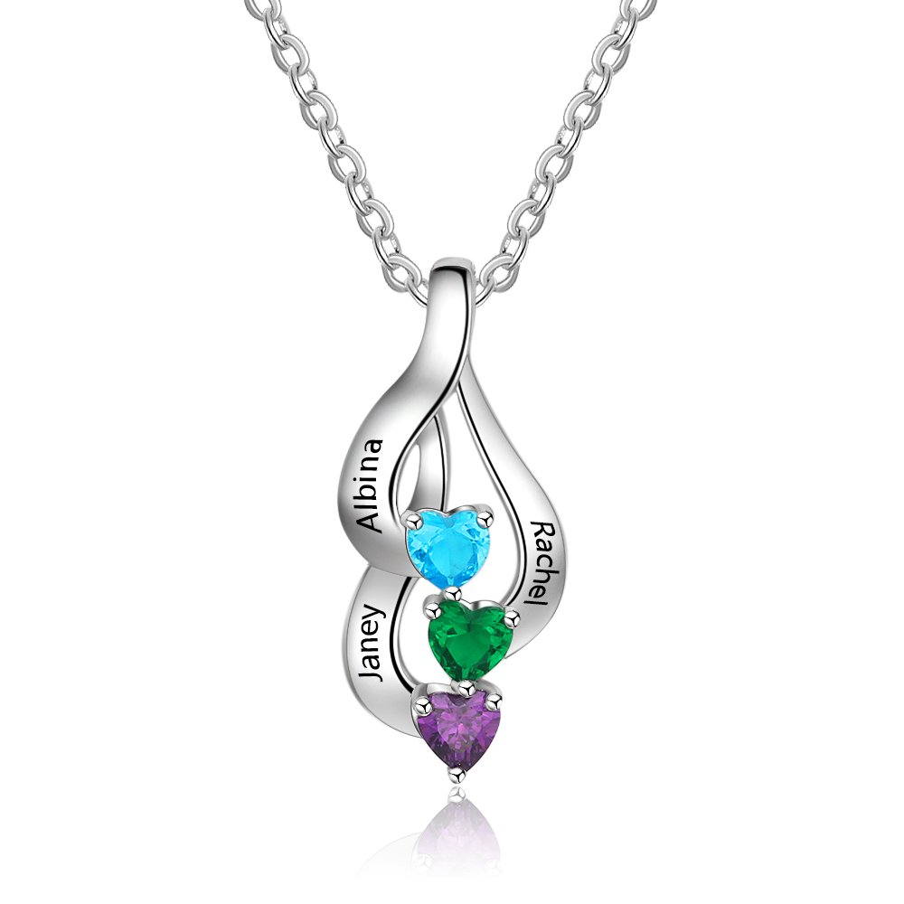 Love Jewelry Personalized 3 Heart Simulated Birthstone Mothers Pendant Necklace with 3 Names Family Pendants for Mother