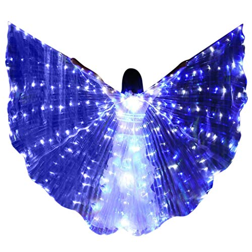 FEDULK LED Isis Wings Glow Light Up Belly Dance Club Costumes Performance Clothing Carnival Halloween Party(With Sticks) -