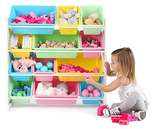 Tot Tutors Kids' Toy Storage Organizer with 12 Plastic Bins, White/Pastel (Pastel Collection)