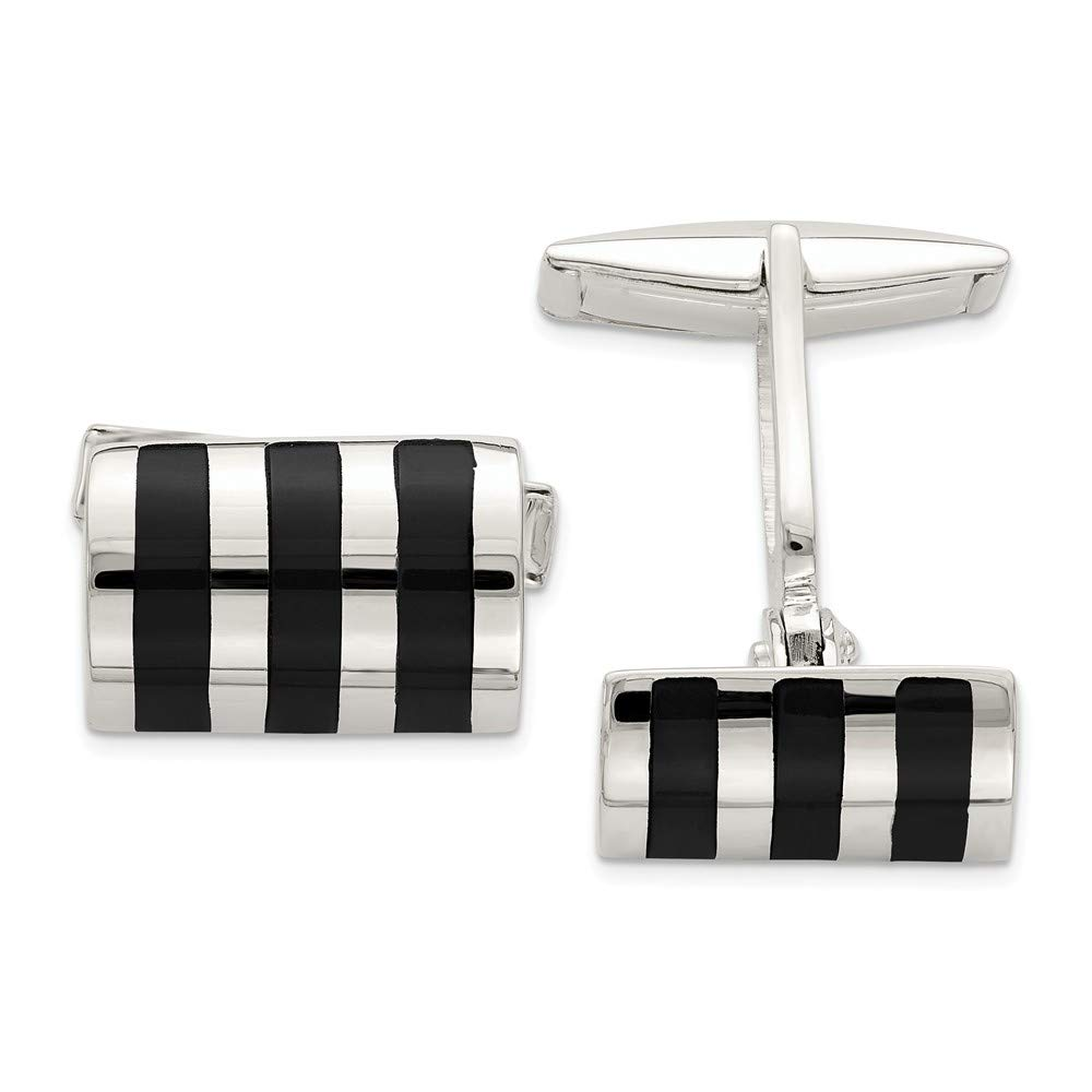 925 Sterling Silver Black Onyx Cufflinks Man Cuff Link Fine Jewelry Gift For Dad Mens For Him