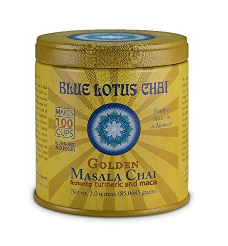 Blue Lotus - Golden Masala Chai, Gluten-Free & Vegan - 3 oz Tin, Makes 100 - Times Indian Shopping