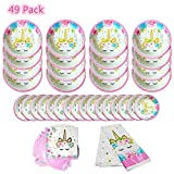 49 Pack Unicorn Tableware Plates Napkins Sets Unicorn Theme Party Supplies Including Plates Napkins Tablecover For Kids Party Serves 16 Guests
