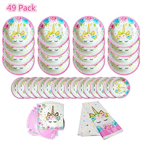 49 Pack Unicorn Tableware Plates Napkins Sets Unicorn Theme Party Supplies Including Plates Napkins Tablecover For Kids Party Serves 16 Guests -