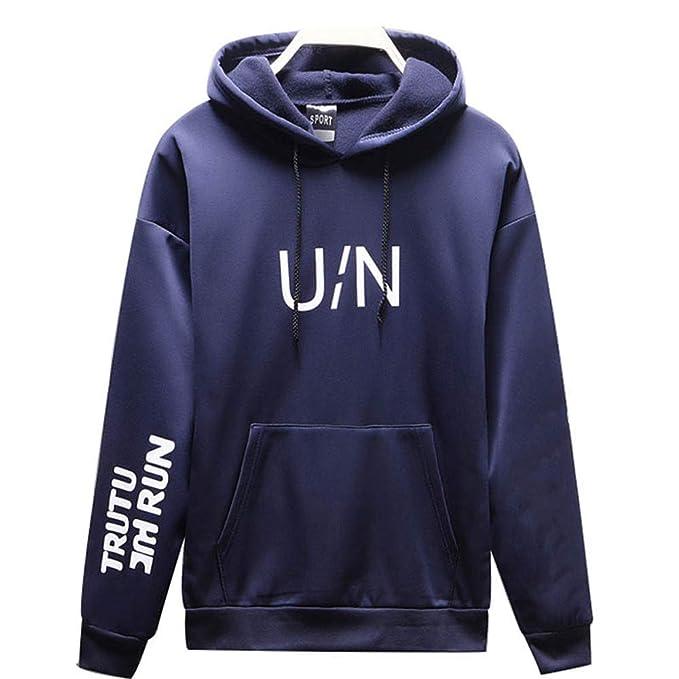 Amazon.com: Men Fashion Hoodie,Mens Autumn Winter Long Sleeved Letter Printed Sweatshirt Pocket Hoodie Tops: Sports & Outdoors