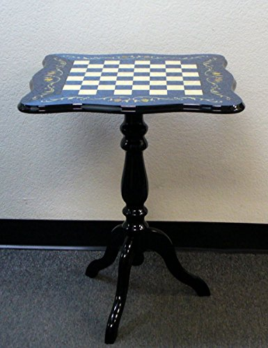 Sculpted Briarwood Blue Floral Lacquered Chess Table