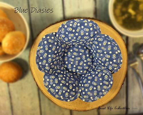 SET Microwave Bowl Cozy, Blue Diasies - White polka dot, Reversible Handmade Original Unique