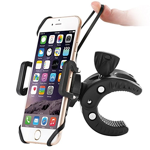 Price comparison product image Bike Phone Mount, Sbode Motorcycle Bicycle Handlebar Holder, Universal ATV, 360 Degree Rotatable Cell Phone Mount for iPhone 7/7Plus/6s/6Plus/5S, Android Smartphones(Black)