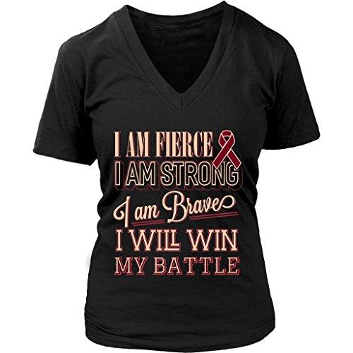JoyHip.com Fierce Strong Brave Will Win Battle Multiple Myeloma Cancer Awareness Burgundy Ribbon Women V-Neck T-Shirt