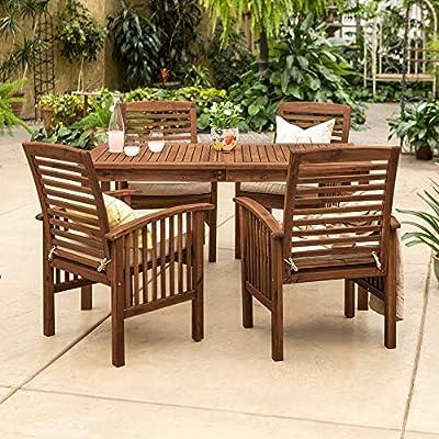 Amazon Com Overstock 5 Piece Acacia Outdoor Dining Set Dark Brown