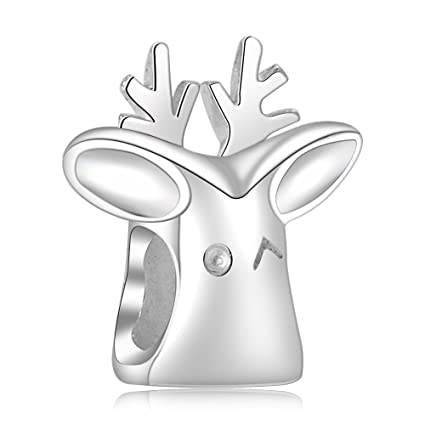e0947d1c2 Amazon.com: Beauty Charm Sterling Silver Cute Christmas Rudolph Reindeer  Deer European-Style Pendant Bead Charm