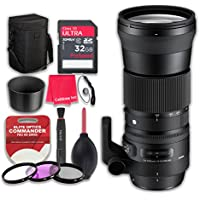 Sigma 150-600mm f/5-6.3 DG OS HSM Contemporary Lens for Nikon F with 32GB Ultra Pro Speed Class 10 SDHC Memory Card + 3pc Filter Kit (UV-FLD-CPL) + Deluxe Sleeve - International Version
