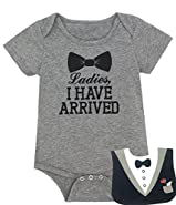 Baby Boys' Funny Gentleman Bodysuit with Bib