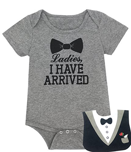 Baby Boys' Funny Gentleman bodysuit with Bib (0-3 Months, Gray)