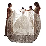 kelaixiang Elegant 1 Layer Lace Sequins Beaded Edge Bridal Wedding Veil with Comb (3m, lvory)