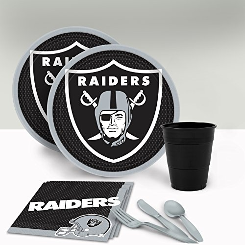 Los Angeles Raiders NFL Party Pack Party Supplies Decorations Plates Napkins Cups Tableware ()
