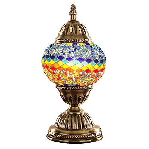 (Turkish Lamp NBHUZEHUA Unusua Vintage Stained Glass Moroccan Style Mosaic Table Light Room Decoration Art Deco)