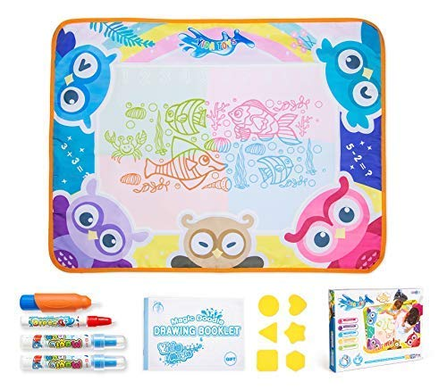 """Water Doodle Mat for Toddler, Aqua Magic Pad   Mess-Free Coloring, Draw & Paint with Water, Fun & Educational Toys   Games for 3-12 Years Old, Large Size 30"""" x -"""